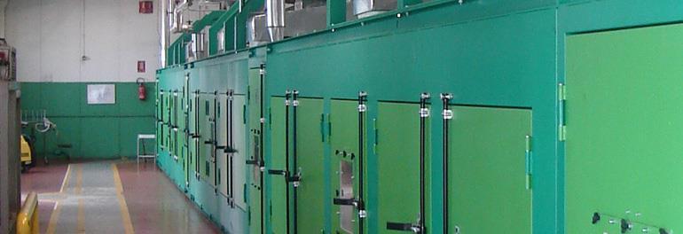 Líneas para producción de espumas de caucho sintético.