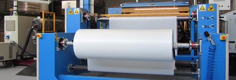 máquinas producción materiales adhesivos, laminación y transferencia de pegamento